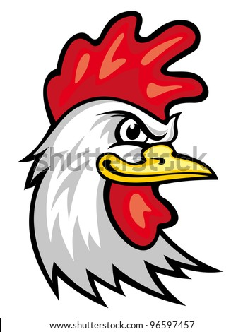 Head of cartoon rooster isolated on white. Vector illustration - stock vector