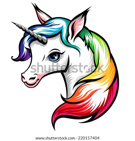 Head of cute white unicorn with rainbow mane isolated on white - stock vector