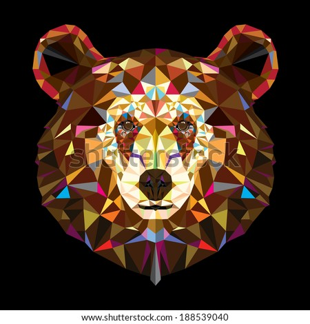Head of grizzly bear in geometric pattern, Vector - stock vector