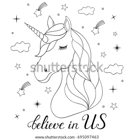 Horse Head Coloring Page Stock Royalty Free