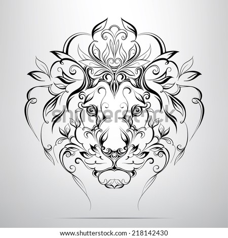 Head of lion in the ornament - stock vector