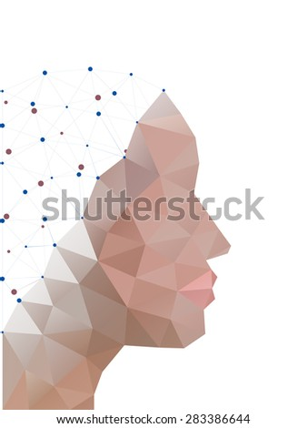 Head of polygons. Abstract form of human - stock vector