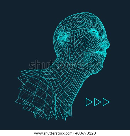 Head of the Person from a 3d Grid. Human Head Wire Model. Human Polygon Head. Face Scanning. View of Human Head. 3D Geometric Face Design. 3d Polygonal Covering Skin. Geometry Polygon Man Portrait. - stock vector