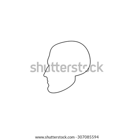 Head. Outline black simple vector pictogram