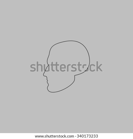Head. Outlne vector icon on grey background