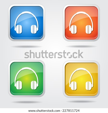 Head Phone Colorful Vector Icon Design