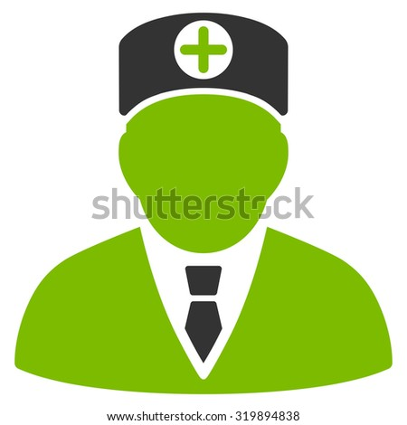 Head Physician vector icon. Style is bicolor flat symbol, eco green and gray colors, rounded angles, white background.