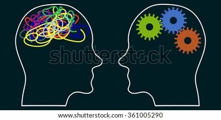 head profile silhouettes with gears and doodle brain