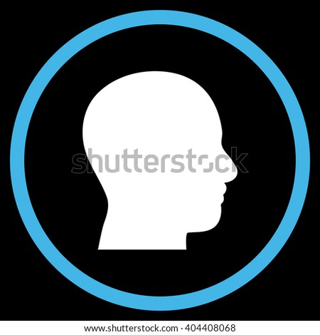 Head Profile vector bicolor icon. Image style is a flat icon symbol inside a circle, blue and white colors, black background.