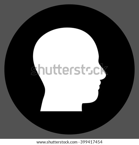 Head Profile vector icon. Image style is a flat icon symbol on a round button, black and white colors, gray background.