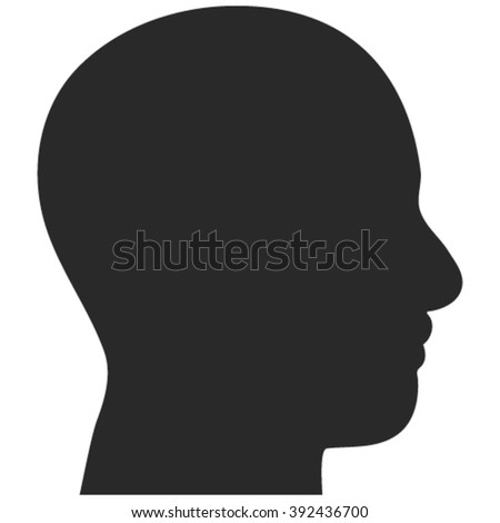 Head Profile vector icon. Image style is flat head profile pictogram drawn with gray color on a white background.