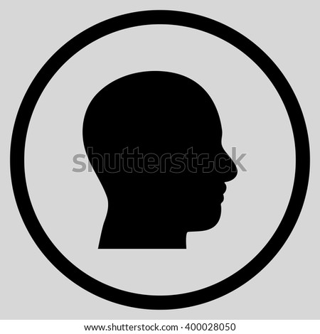 Head Profile vector icon. Picture style is flat head profile rounded icon drawn with black color on a light gray background.