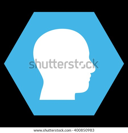 Head Profile vector symbol. Image style is bicolor flat head profile icon symbol drawn on a hexagon with blue and white colors.