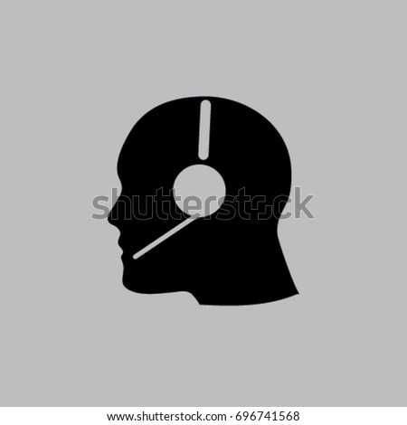 head profile with headphone vector icon