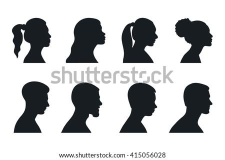 head, profile, woman, man, silhouette, portrait - stock vector