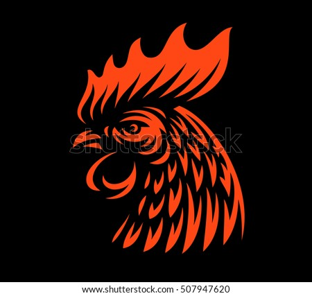 head rooster illustration design on dark stock vector royalty free