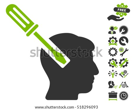 Head Screwdriver Tuning icon with bonus configuration graphic icons. Vector illustration style is flat iconic eco green and gray symbols on white background.