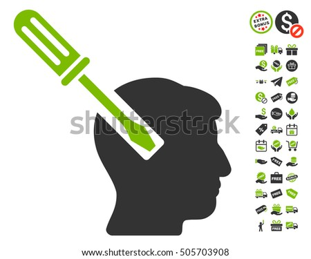 Head Screwdriver Tuning icon with free bonus symbols. Vector illustration style is flat iconic symbols, eco green and gray colors, white background.