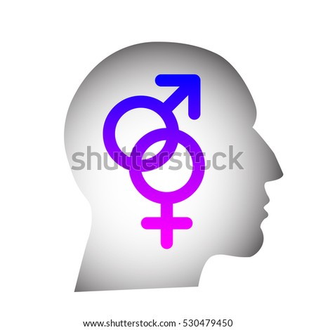 Head silhouette containing male and female pink and blue gender symbols connected together
