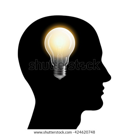 Head silhouette with bulb. Man thinking about new idea. Vector illustration.