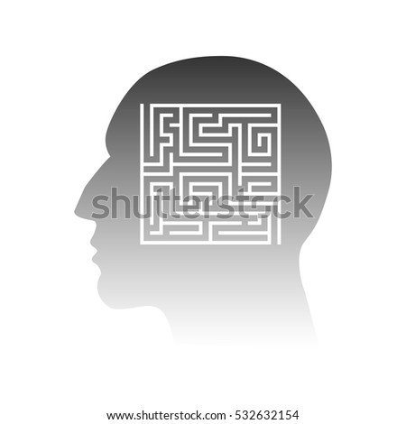 Head silhouette with maze inside vector illustration
