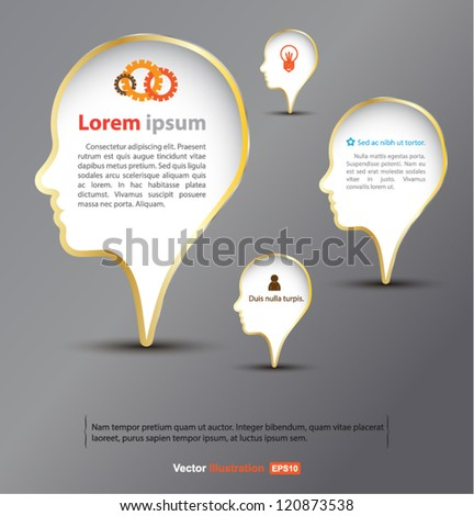 Head think concept / idea for business / Education / vector background - stock vector