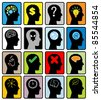 head think silhoutte vector - stock vector