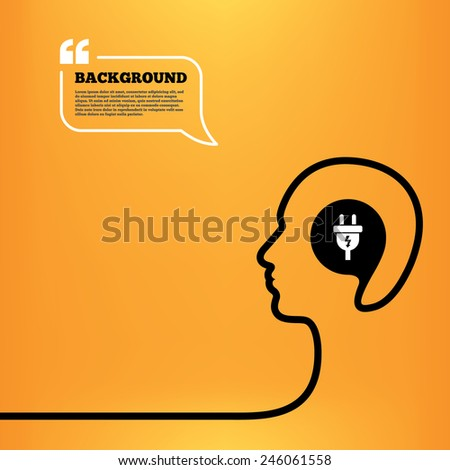 Head think with speech bubble. Electric plug sign icon. Power energy symbol. Lightning sign. Orange background with quotes. Vector - stock vector