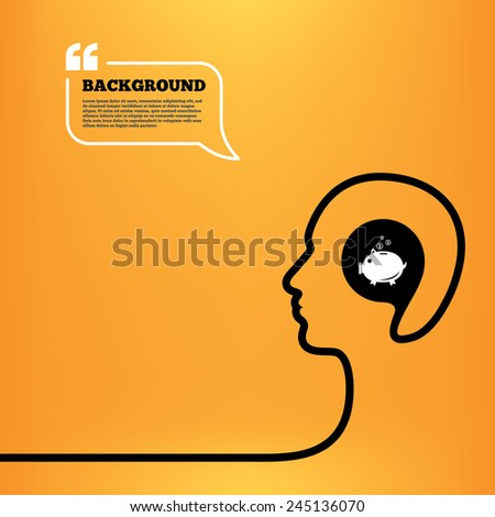 Head think with speech bubble. Piggy bank sign icon. Moneybox symbol. Orange background with quotes. Vector - stock vector