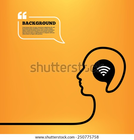 Head think with speech bubble. Wifi sign. Wi-fi symbol. Wireless Network icon. Wifi zone. Orange background with quotes. Vector