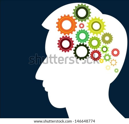 head thinking gear vector