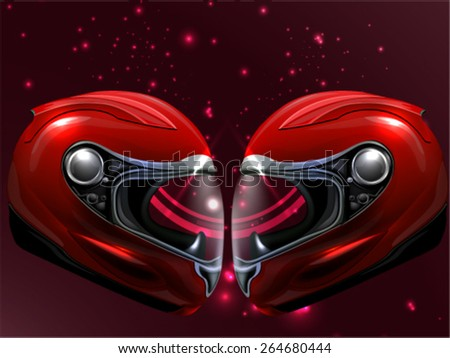 Head to Head Red Motorcycle - stock vector
