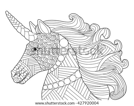 zentangle horse coloring pages - horse head coloring page stock images royalty free