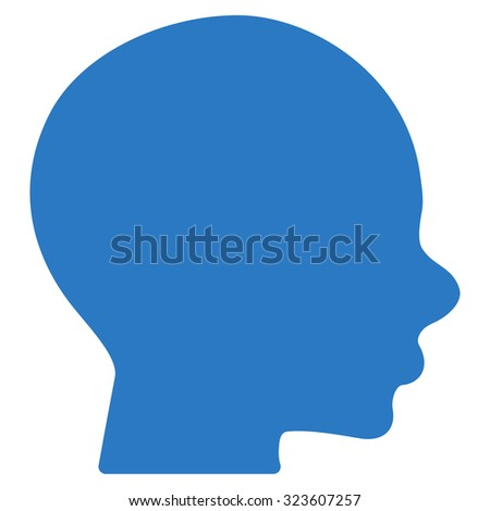 Head vector icon. Style is flat symbol, smooth blue color, rounded angles, white background.