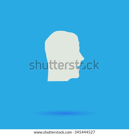 head White flat vector simple icon on blue background with shadow