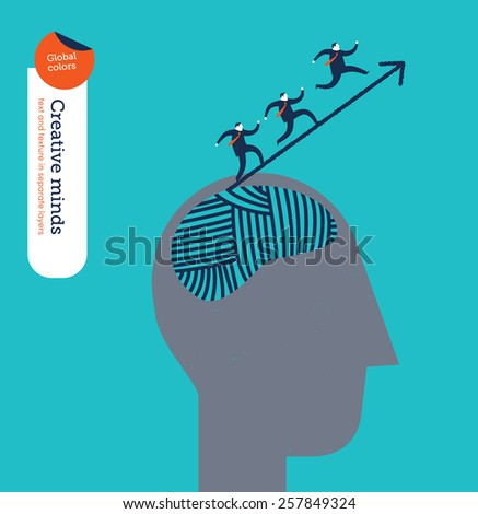 Head with ball of yarn businessmen climbing up an arrow. Vector illustration Eps10 file. Global colors. Text and Texture in separate layers.  - stock vector