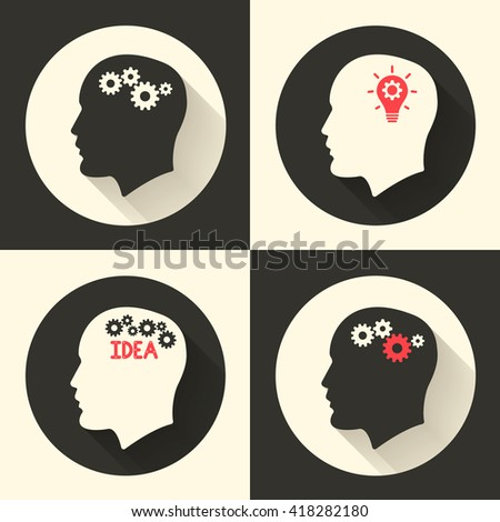 Head with brain and idea lamp bulb pictograph. Male human think symbols. Vector illustration - stock vector