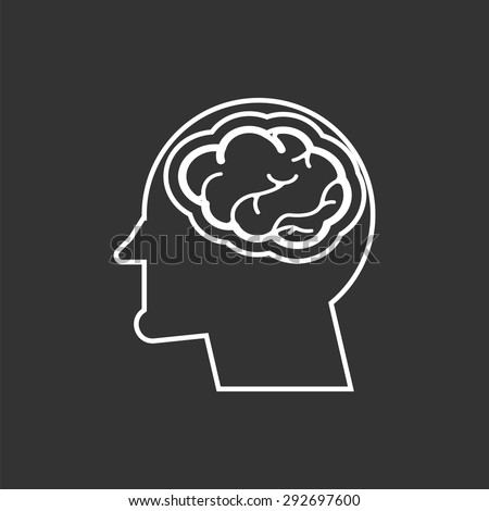 head with brain icon - stock vector