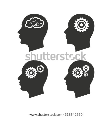 Head with brain icon. Male human think symbols. Cogwheel gears signs. Flat icons on white. Vector - stock vector