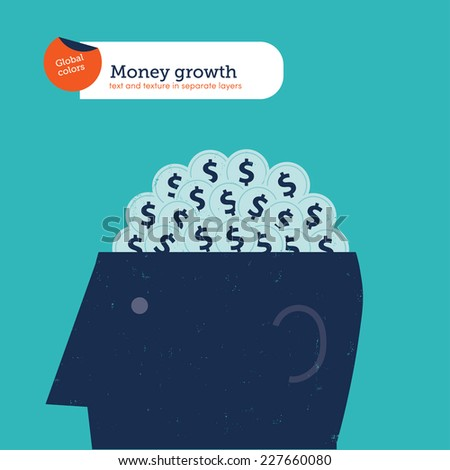 Head with brain of coins. Vector illustration Eps10 file. Global colors. Text and Texture in separate layers. - stock vector
