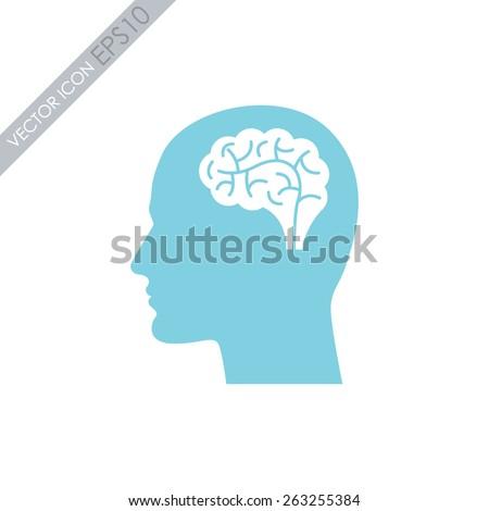 Head with brain vector icon.  - stock vector