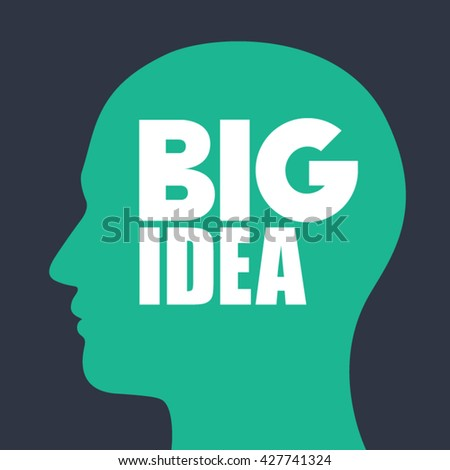 Head with bulb vector illustration. Big idea and think design. - stock vector