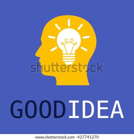 Head with bulb vector illustration. Good idea and think design. - stock vector