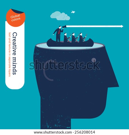 Head with business rowers and coach. Vector illustration Eps10 file. Global colors. Text and Texture in separate layers. - stock vector