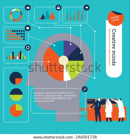 Head with charts showing the brain activity. Vector illustration Eps10 file. Global colors. Text and Texture in separate layers. - stock vector