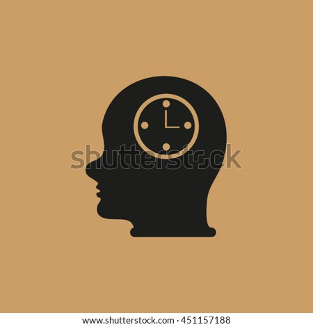 Head With Clock . head man and his mind about clock. Icon watch.