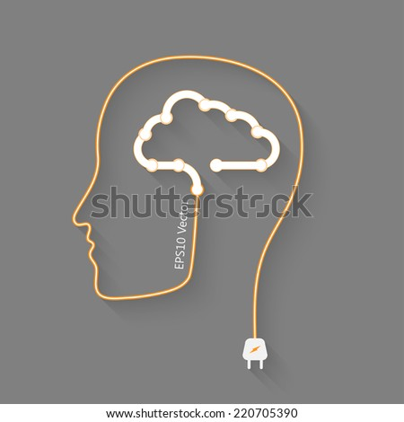 head with cloud as a brain, idea eps10 vector concept - stock vector