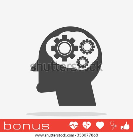 head with cog settings icon - stock vector