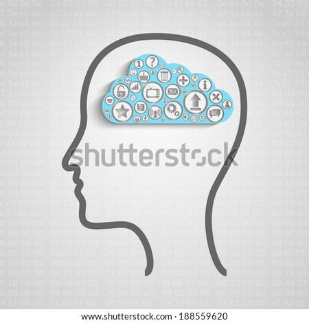 Head with creative cloud inside, memory concept