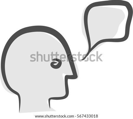 Head with dialog cloud, talking, speaking, discussion, dialog bubble